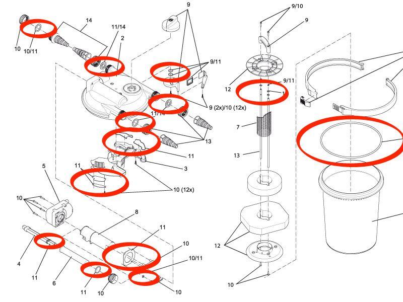 Ersatz-Set Dichtungen FiltoClear 3000 / 6000 / 11000 / 15000