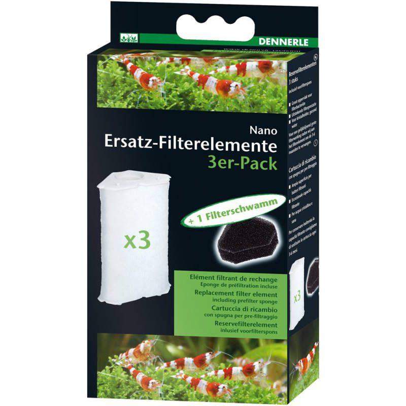 Dennerle Ersatz-Filterelemente 3er-Pack für Nano-Eckfilter