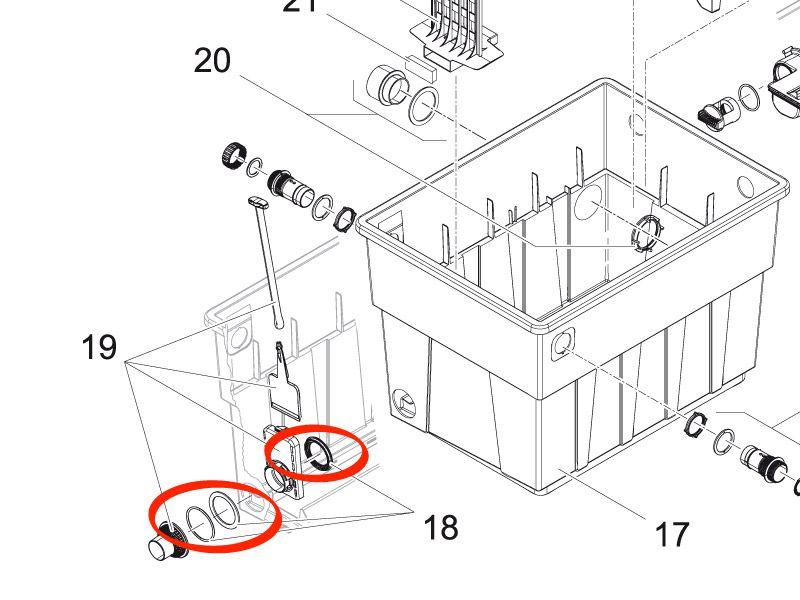 Dichtungsset Ablauf BioTec 12-18 / M1-M5